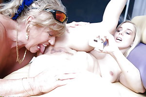 Old moms fuck young girls at lesbian group sex party