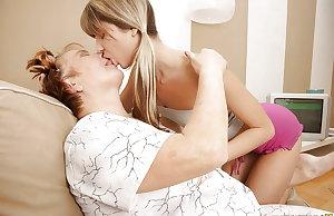 Granny teach young teeny girl a lesbian love