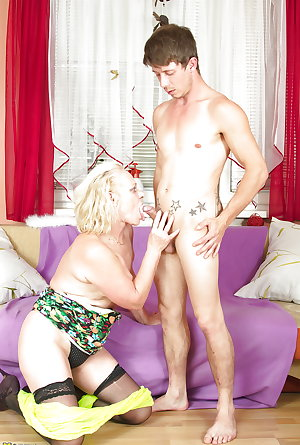 Old dirty grandma takes young boy's cock 1