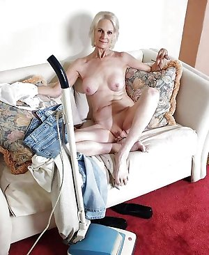 White Granny with Vaccum cleaner