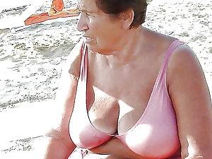 Grandma in a bikini . look
